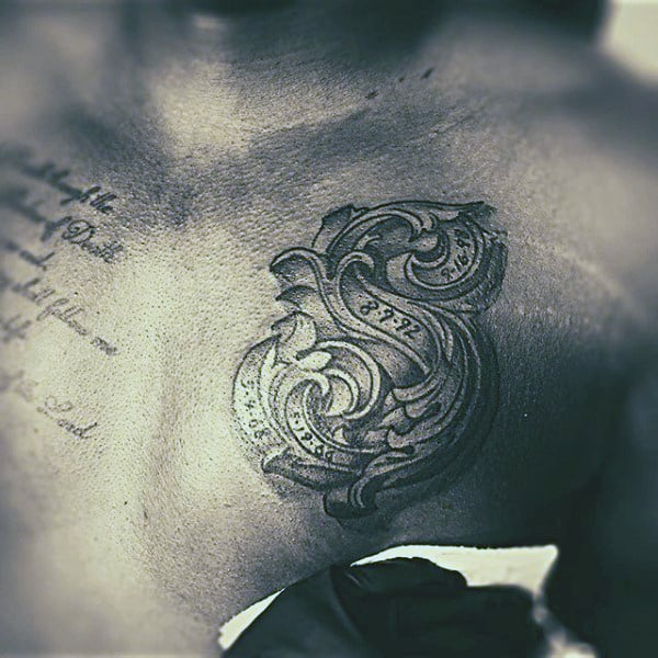 Tiny Lettering Tattoo Mens Chest