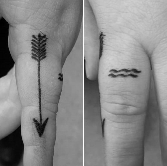 Tiny Mens Aquarius Finger Tattoos