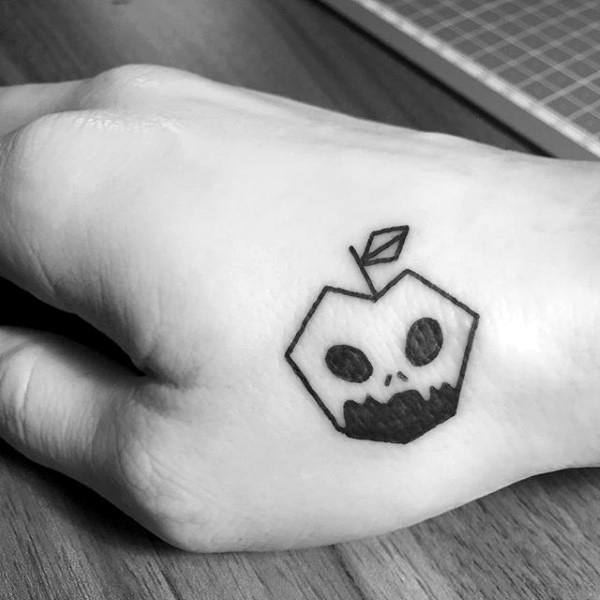 Tiny Mens Black Ink Outline Apple Hand Tattoo