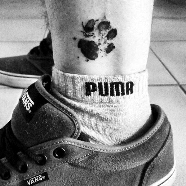 Tiny Mens Dog Paw Lower Leg Tattoos With Watercolor Design