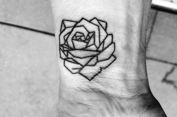 Tiny Mens Geometric Rose Wrist Tattoo