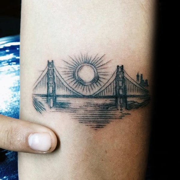 94d02cc73 60 Golden Gate Bridge Tattoos For Men - San Francisco Ink Ideas