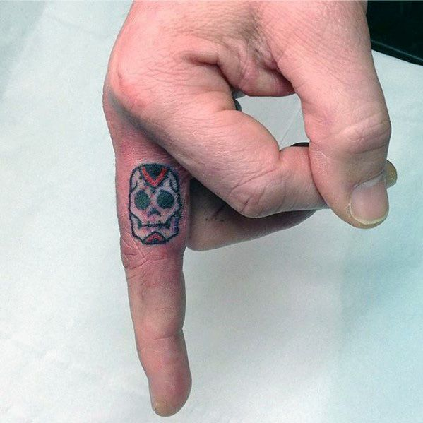 Tiny Mens Small Unique Skull Day Of The Dead Finger Tattoo
