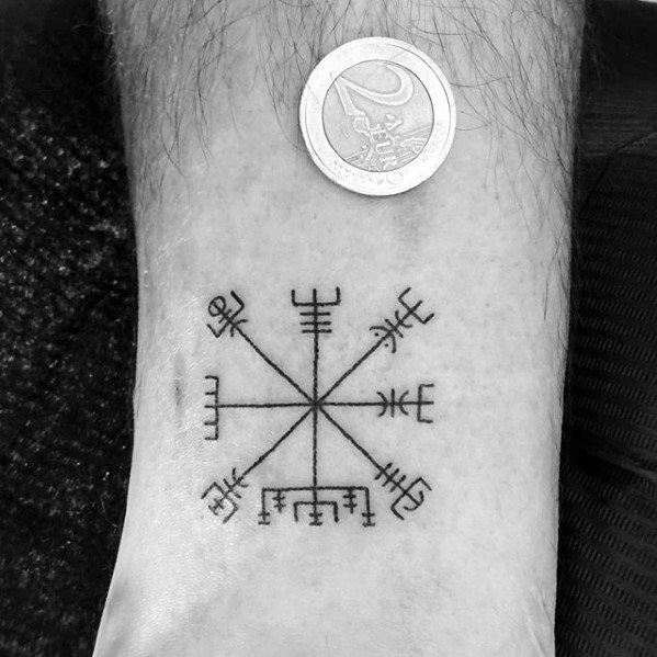 Tiny Mens Viking Compass Wrist Tattoo