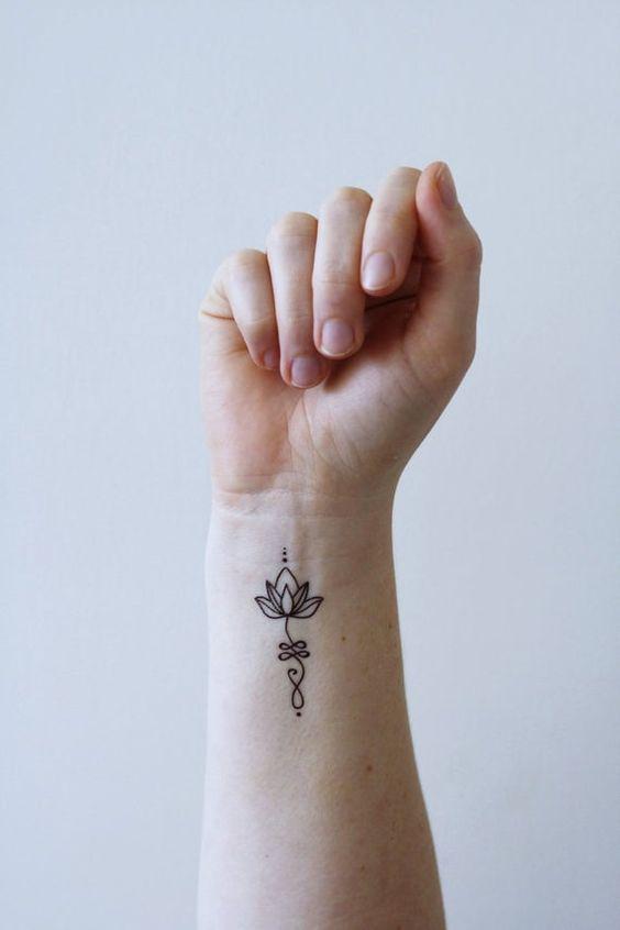 Tiny Simple Unalome Tattoo
