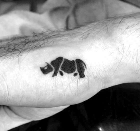 Tiny Small Black Ink Rhino Mens Hand Tattoo