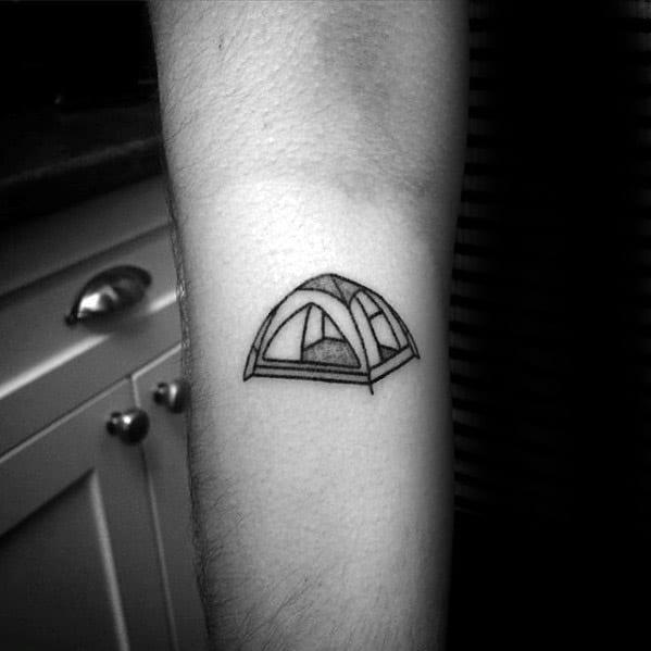 Tiny Small Inner Forearm 3d Tent Tattoo Ideas On Guys