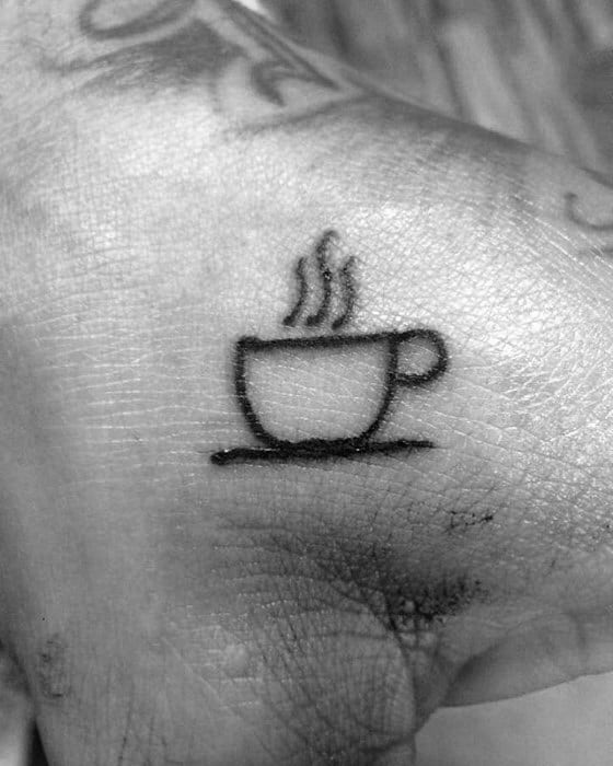 Tiny Small Mens Badass Coffee Cup Black Ink Outline Hand Tattoo