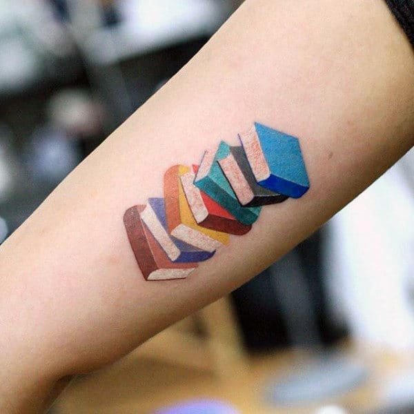 Tiny Tattoo Of Colorful Stack Of Books Guys Forearms