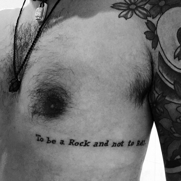 To Be A Rock And To Be Roll Typewriter Font Mens Rib Cage Side Word Tattoos