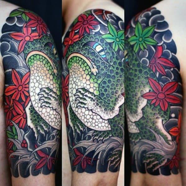 Toad Half Sleeve Japanese Tattoos Men