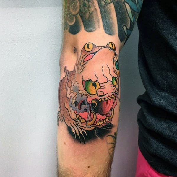 Toad Mens Tattoo Designs On Outer Forearm