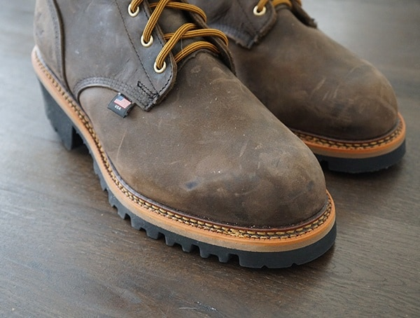 Toe Detail Thorogood Logger Series 9 Inch Brown Crazyhorse Waterproof