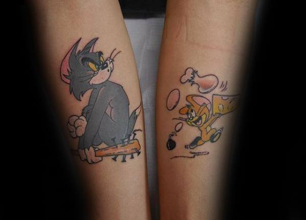 40 tom and jerry tattoo designs for men