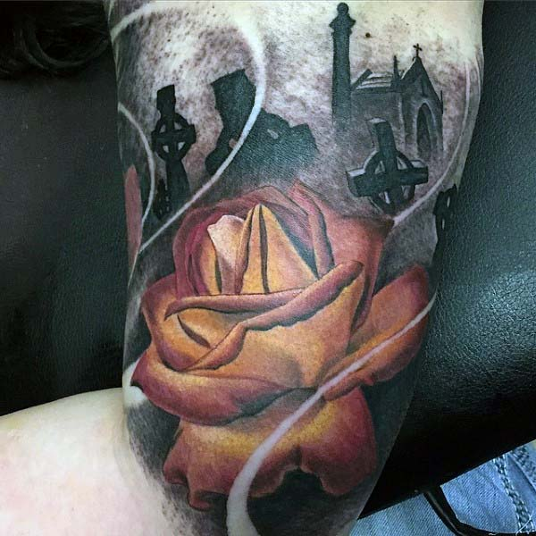 Tombstones Sleeve Tattoo For Men With Color Rose Flower