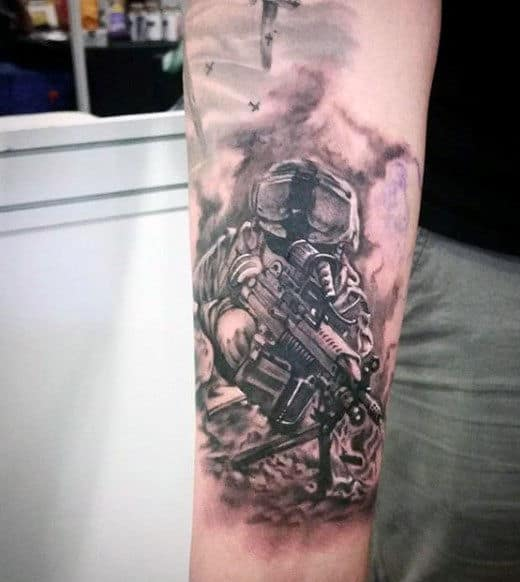 Tommy Gun Tattoo For Guys