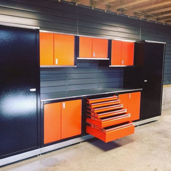 Tool Chest Garage Storage Cabinets With Orange And Black Design