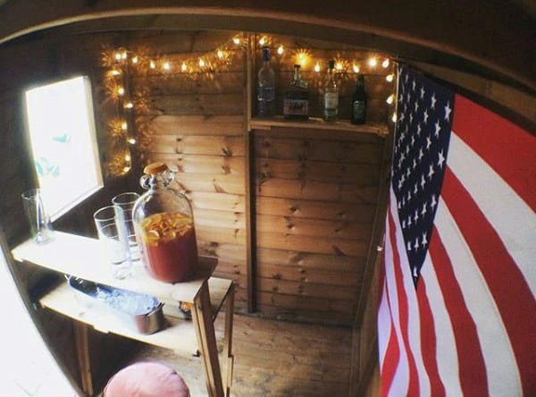 Tool Shed Bar With American Flag And Lights