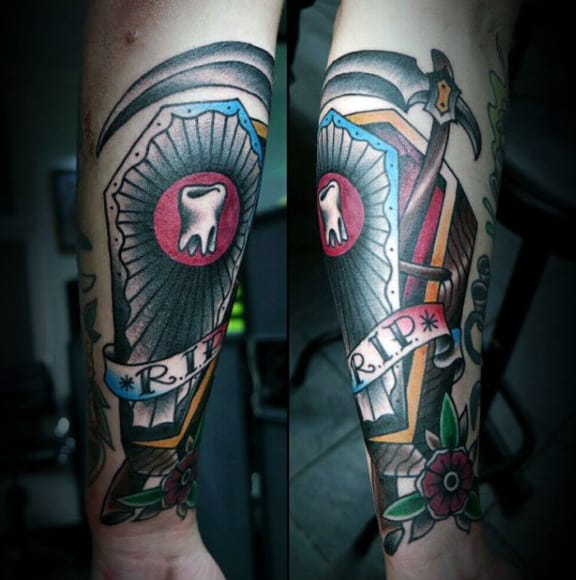 Tooth Coffin Rip Male Tattoo On Forearm