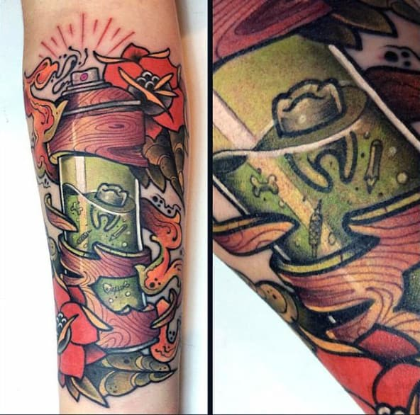 Tooth In A Hollow Paint Can Graffiti Tattoo On Forearm For Men