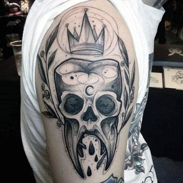 Tooth Skull With Crown Cool Guys Arm Tattoos