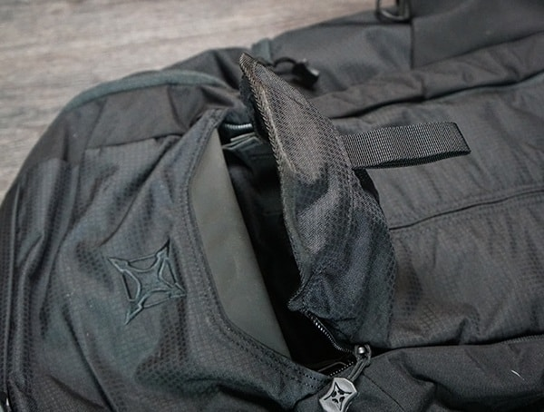 Top Of Front Pack Pulled Open Vertx Edc Gamut Plus Backpacks