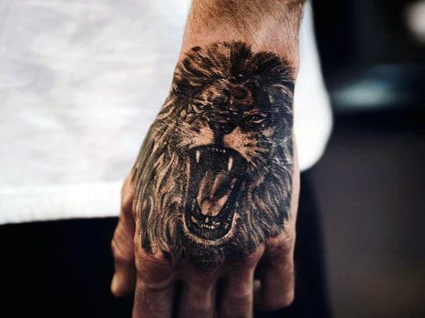 Top Of Hand Guys Lion Roaring Tattoo Design Inspiration