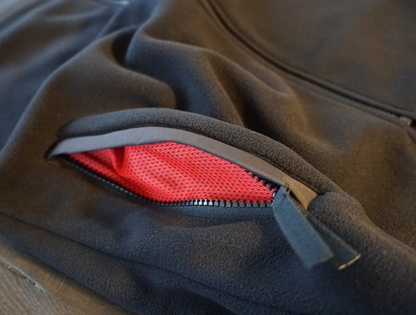 Topo Designs Fleece Hoodie Side Pockest With Red Mesh Interior Lining