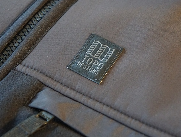Topo Designs Fleece Hoodie Stiched Topo Logo Detail