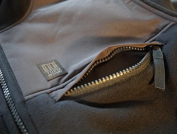Topo Designs Fleece Hoodie Upper Chest Pocket With Zipper