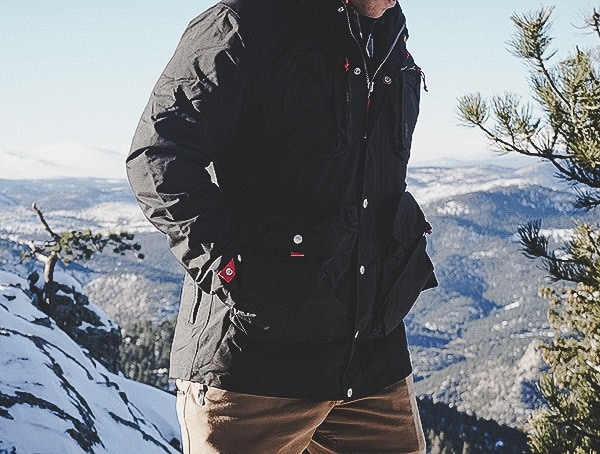 Topo Designs Mens Mountain Jacket Review Outdoors On Mountain With Snow