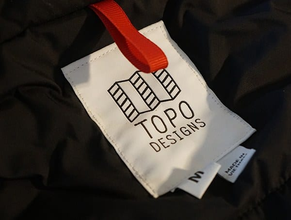 Topo Designs Mountain Mens Jacket Inner Brand Tag