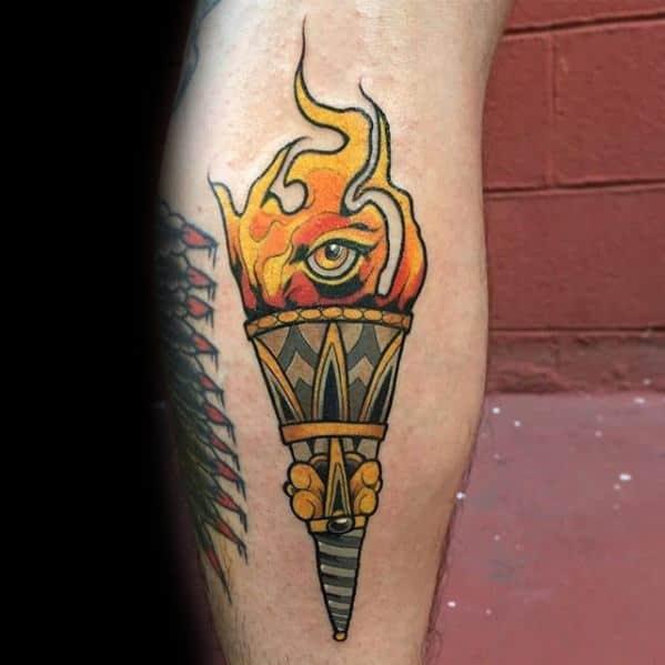 Torch Tattoo Design On Man