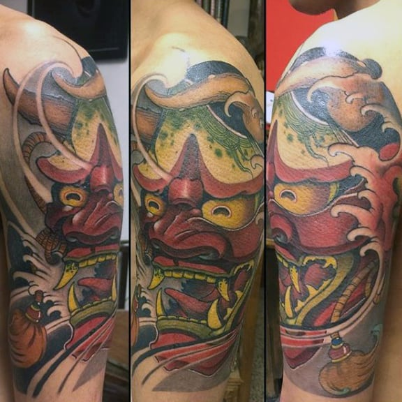 Tormented Guys Hannya Mask Half Sleeve Tattoo Ideas