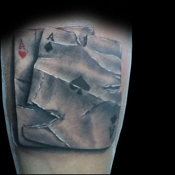 Torn Paper Playing Card Mens Arm Tattoos