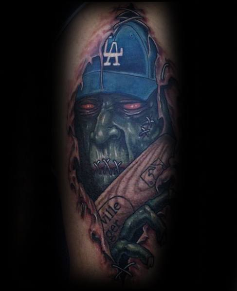 Torn Skin Blue Los Angeles Dodgers Zombie Tattoos For Males