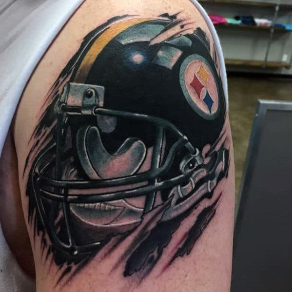 Torn Skin Guys Football Helmet Nfl Pittsburgh Steelers Tattoo On Arm