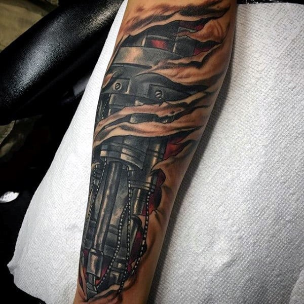 Torn Skin Guys Leg Sleeve Terminator Cyborg Robotic 3d Tattoos