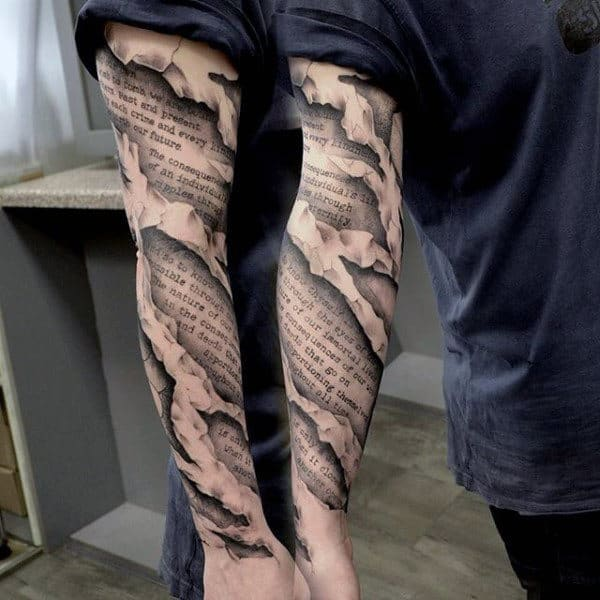 Torn Skin Mens 3d Quote Scroll Unique Sleeve Tattoo