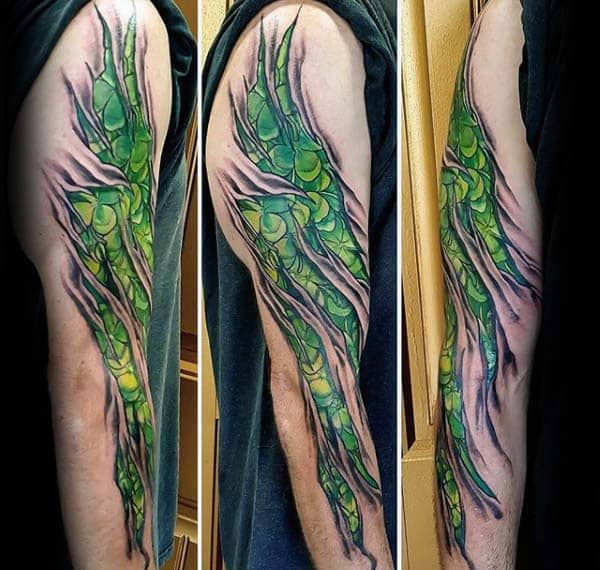 Torn Skin Mens Full Arm Irish Green Four Leaf Clover Tattoos