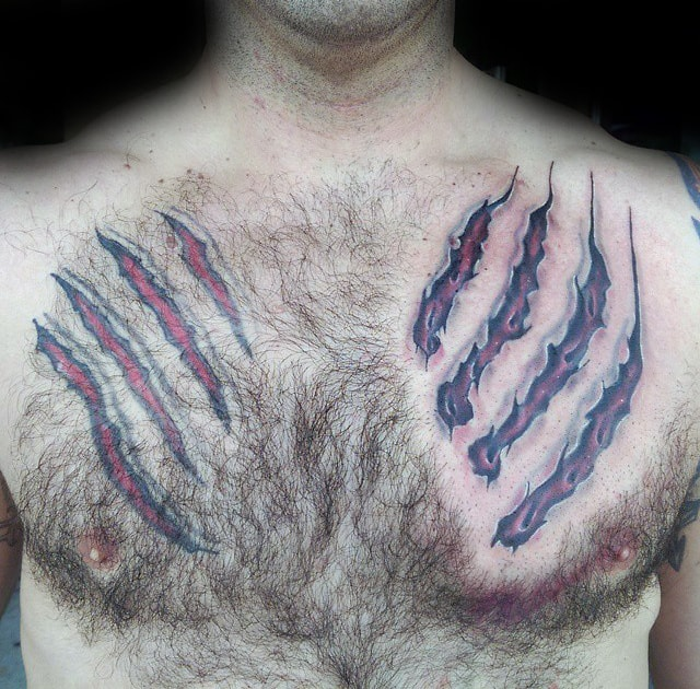 Torn Skin Mens Upper Chest Bear Claw Tattoos
