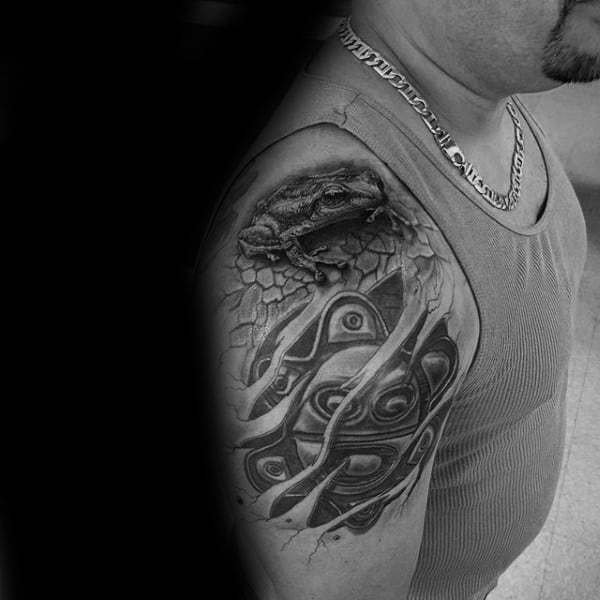 Torn Skin Taino Mens Upper Arm Tattoos