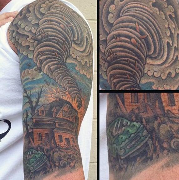 Tornado House Mens Half Sleeve Tattoos