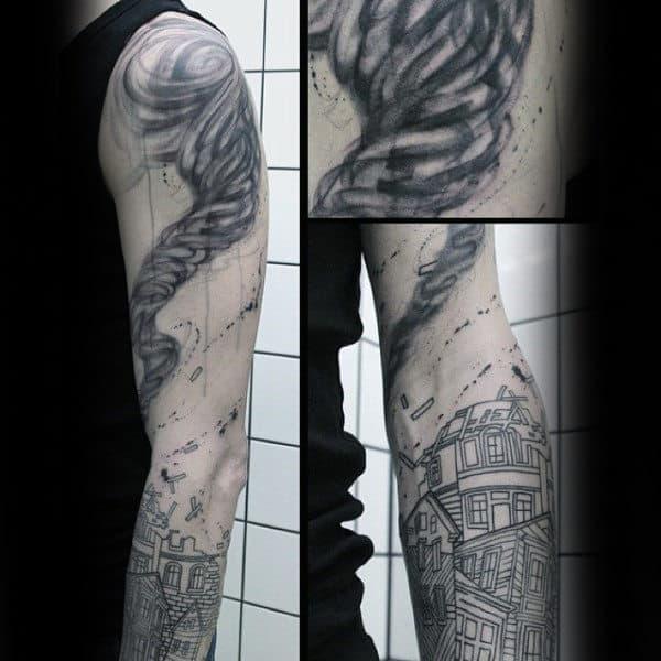 Tornado Pulling Apart House Mens Watercolor Arm Tattoos