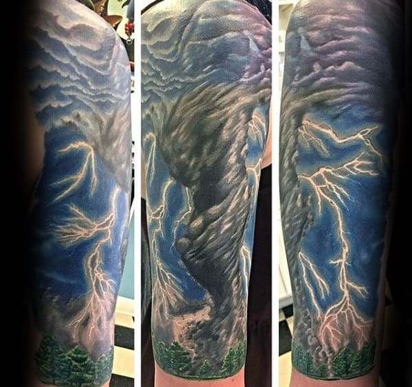 Tornado With Lightning Tattoo On Man Half Sleeve Design