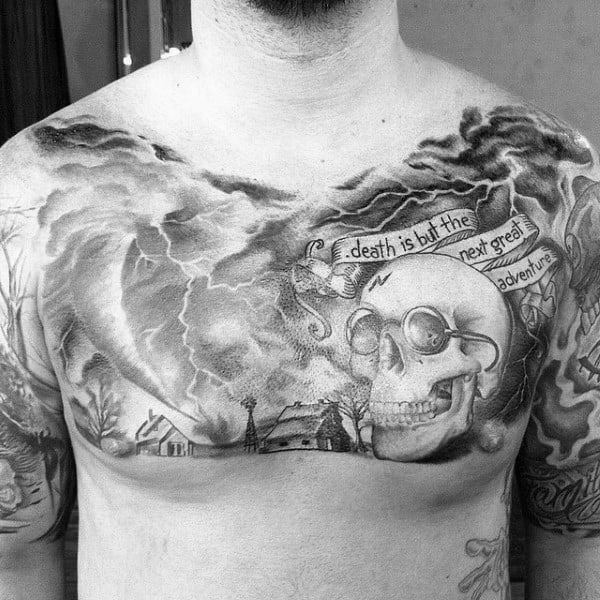 Tornado With Stormy Weather And Farm Mens Upper Chest Tattoos