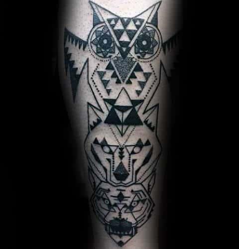 Totem Pole Animals Geometric Wolf Mens Tattoos