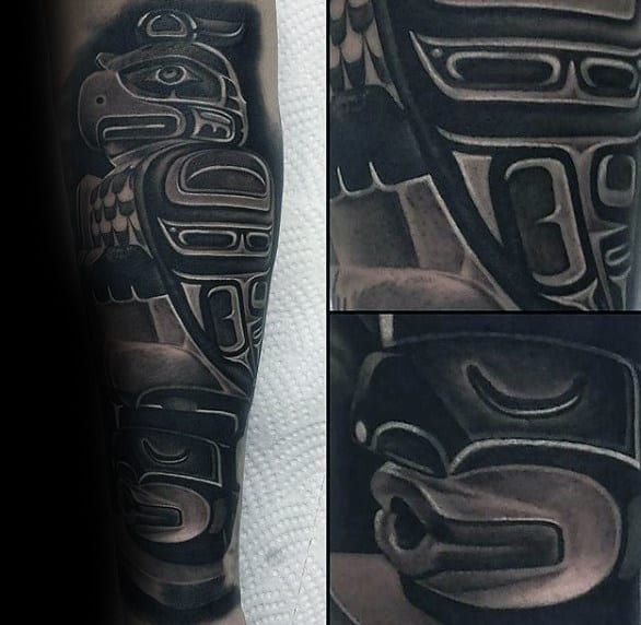 Totem Pole Inner Forearm Mens Tattoos