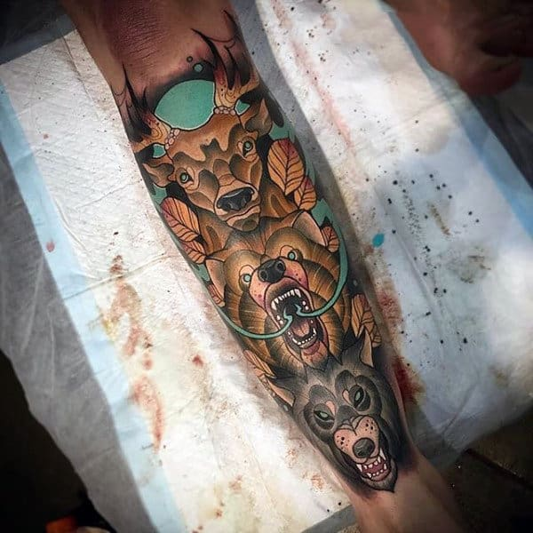 Totem Pole Neo Traditional Animal Tattoo For Guys On Leg Sleeve