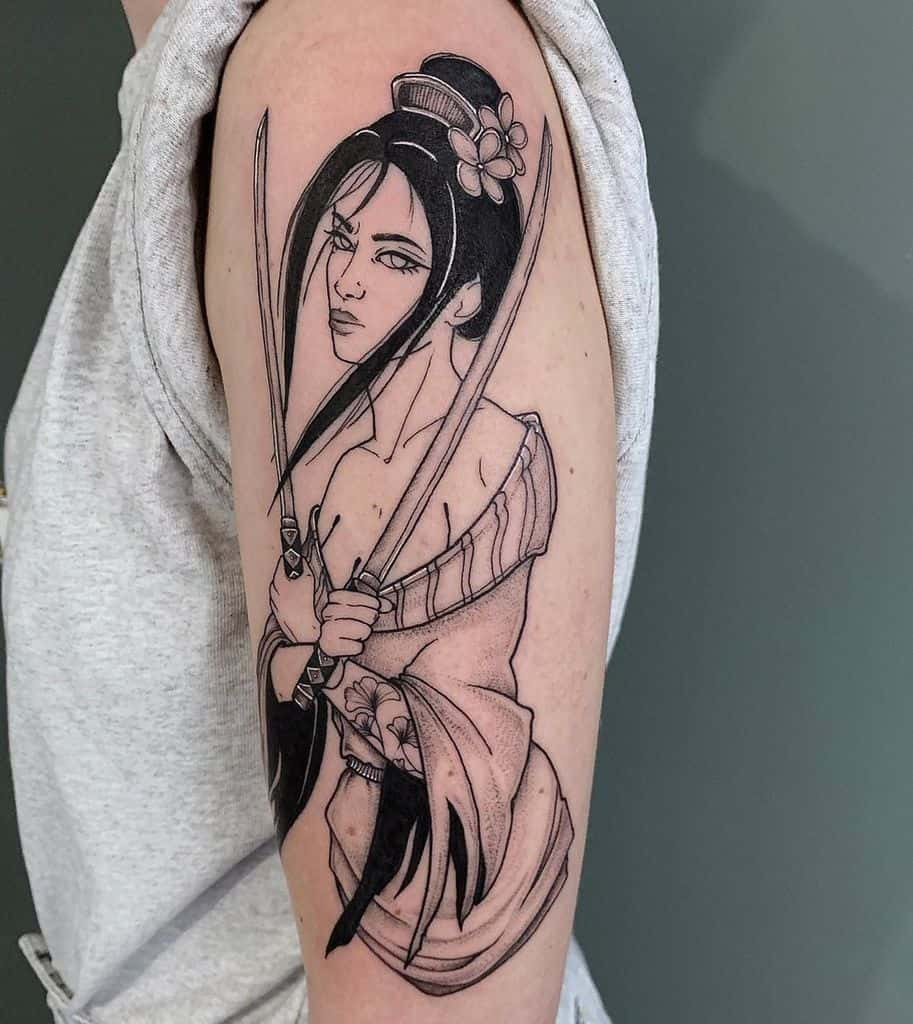 Tough Asian Japanese Warrior Geisha Tattoo